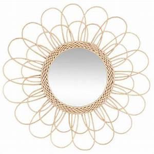 Miroir En Rotin : miroir d co en rotin fleur 56cm naturel ~ Nature-et-papiers.com Idées de Décoration