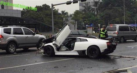 crashed white lamborghini five lamborghini supercars crashed in china on friday