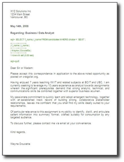 cover letter exles general