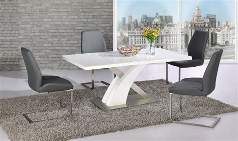 white glass gloss dining table   grey chairs set