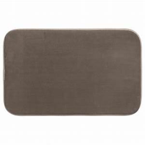 tapis salle de bain quotmemoire de formequot 80x50cm taupe With tapis de bain memoire de forme