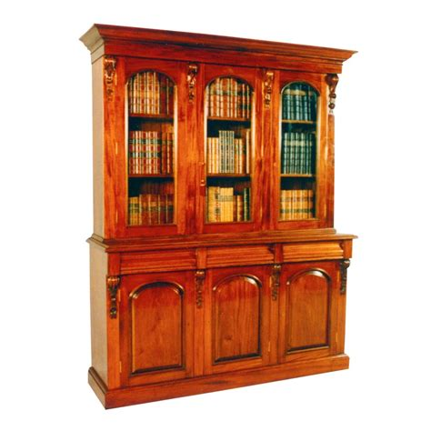 Bc 015 Vic Bookcase 3 Dr Low  Mahogany By Hand
