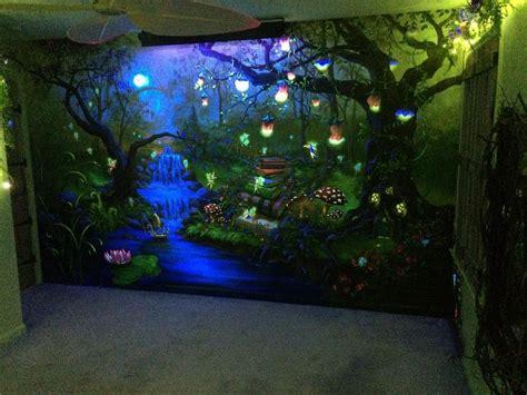 black light wallpaper for bedroom enchanted forest bedroom mural under the blacklight at