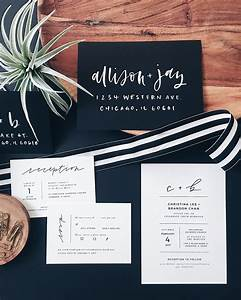 minimalist black and white hand lettered wedding invitations With hand lettered wedding invitations