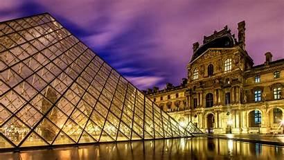 Louvre Lights Night Paris Pyramid Buildings Pc