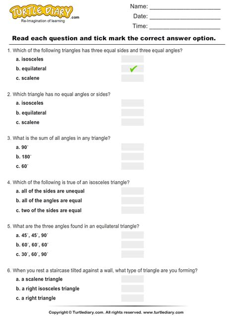 types  triangles worksheet turtle diary