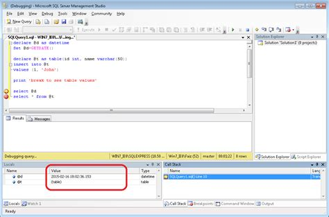 how to use temp table in sql server debugging how to see the values of a table variable at