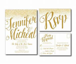 Gold wedding invitation gold sparkles printable for How to send wedding invitations with rsvp