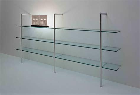 glass wall shelf  iron rods modern room decor
