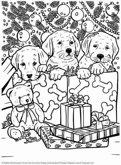 Coloring Christmas Pages Books Holiday Puppy Animal