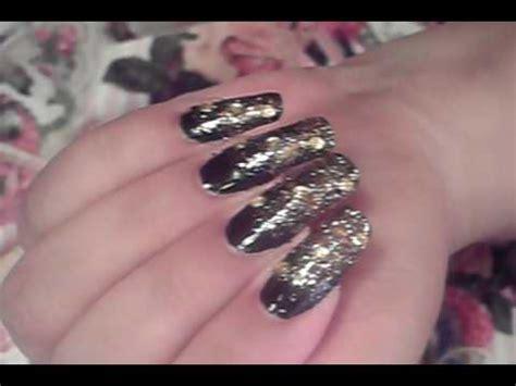 ombre gradient black gold nail art design tutorial video