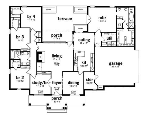 floor plan  bedrooms single story  bedroom european