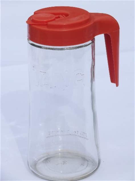 Retro refrigerator glass pitcher, bottle w/ orange plastic lid