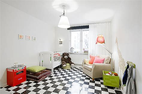 Kids Room Apartment With Black And White Checkered Floor