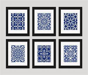 Navy blue art white wall home decor set by