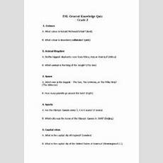 English Worksheets General Knowledge Quiz For Esl Grade 3