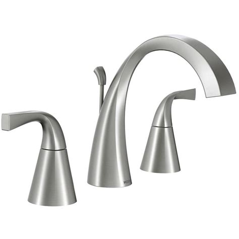 moen oxby spot resist brushed nickel  handle widespread