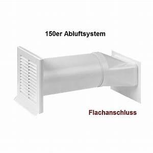 Set 150 mm abluftset mauerkasten flachkanal umlenkstuck for Flachkanal dunstabzug