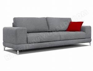 Canape tissu ub design jessica 3 places gris pas cher for Canapé 3 places pour deco design