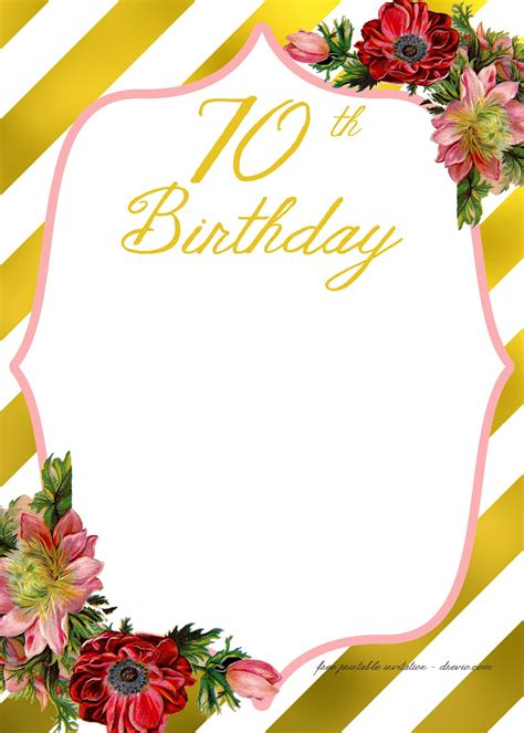 Adult Birthday Invitations Template for 50th years old