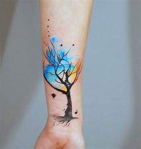70 Watercolor Tree Tattoo Designs For Men - Manly Nature Ideas