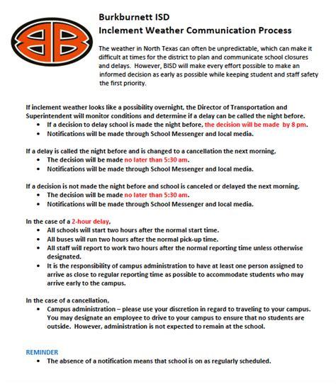 burkburnett isd inclement weather process