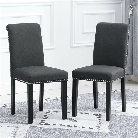 pcs dining room grey dining chairs high  fabric
