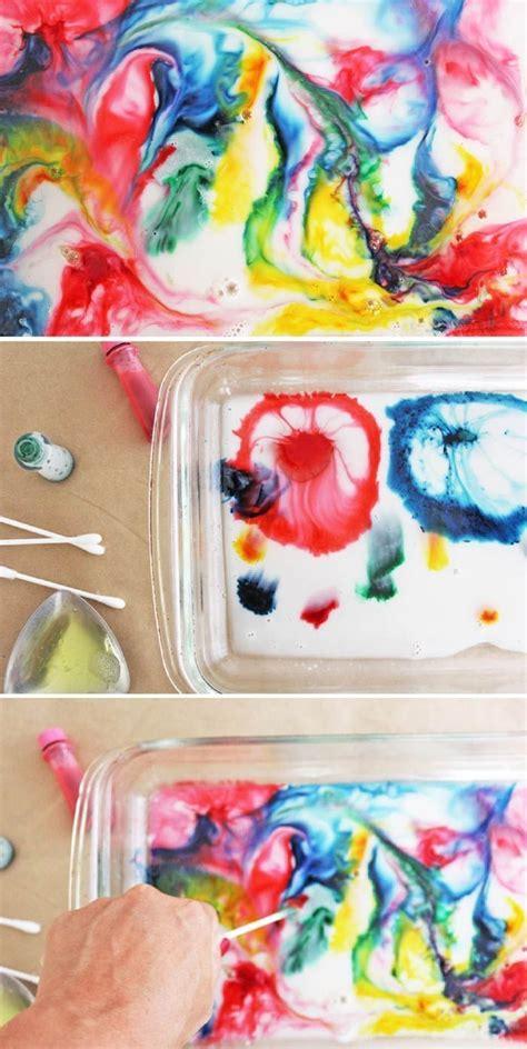 magic milk painting milk science experiment preschool