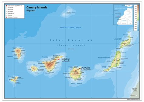 canary islands physical map  love maps