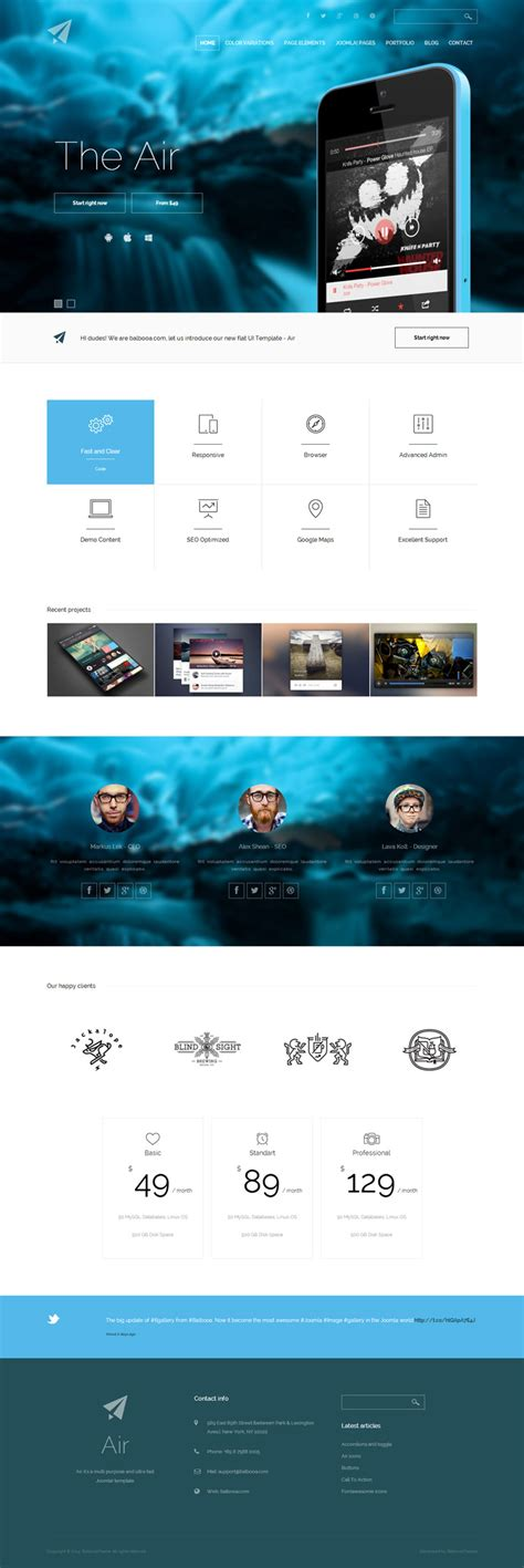 air joomlsa template bootstrap joomla template the air wp mustache joomla
