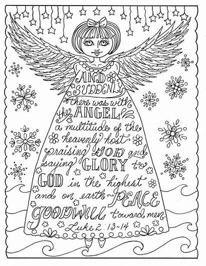 Coloring Christmas Christian Angel Pages Adult Books