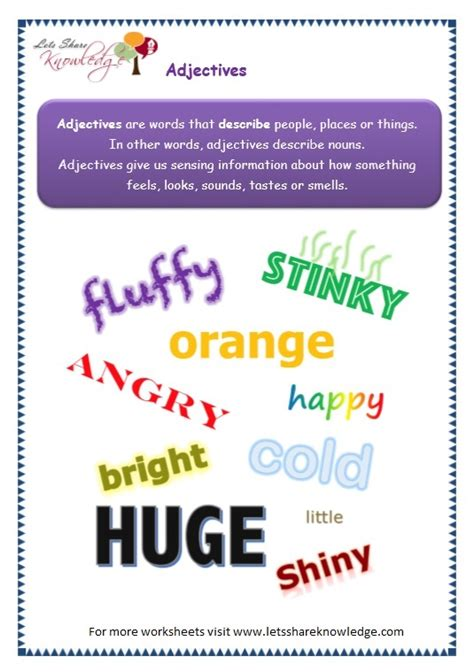 grade  grammar topic  adjectives worksheets lets
