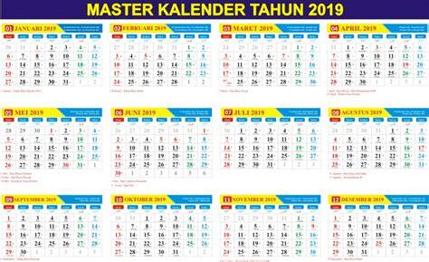 Download Master Kalender Tahun 2019 Gratis (pdf & Cdr)