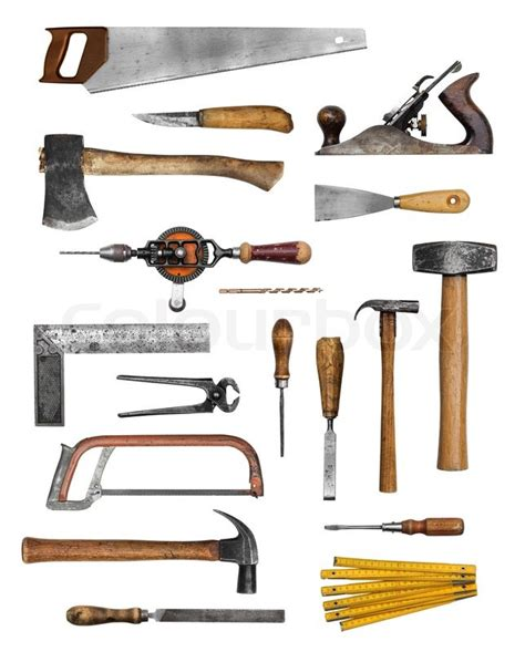 carpenter hand tools set collection stock photo