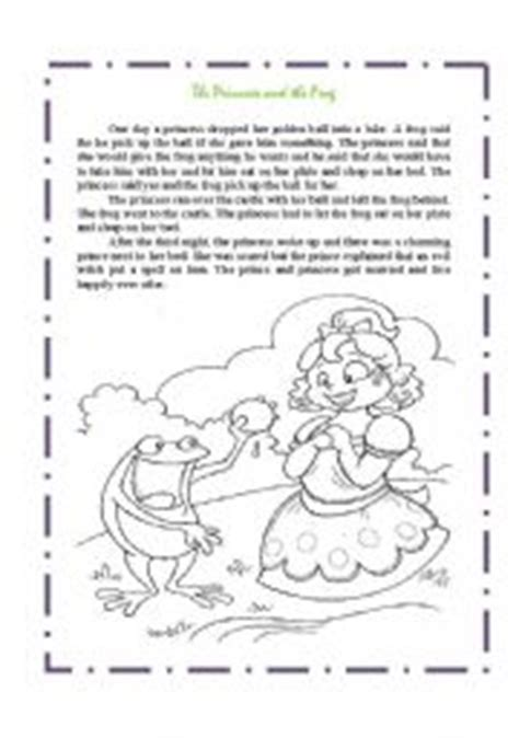 English Worksheets Story Telling The Princess And The Frog