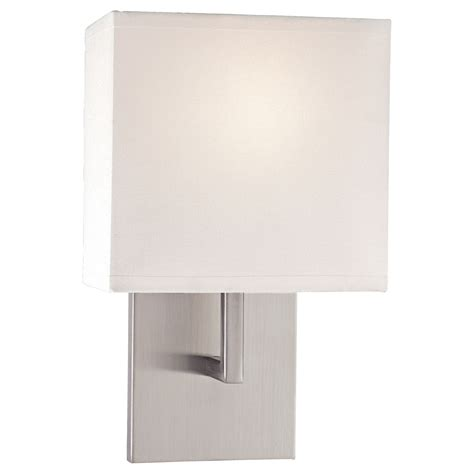 sconces brushed nickel one light wall sconce with white