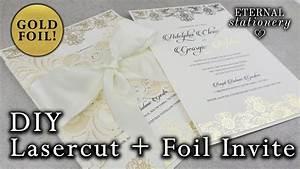 elegant laser cut and gold foil invitation diy wedding With homemade laser cut wedding invitations