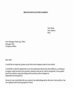 Job Resignation Format Free 7 Sample Employment Resignation Letter Templates In