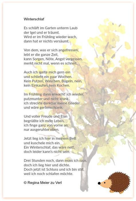 Herbst Garten Gedicht by Winterschlaf Herbst Kindergedichte Gedicht Sommer Und