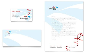 gymnastics academy business card letterhead template design