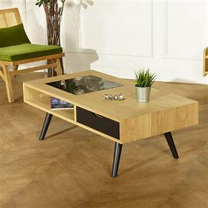 Acton, Modern, Coffee, Table, Oak, And, Metal