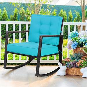 Gymax, Outdoor, Wicker, Rocking, Chair, Patio, Lawn, Rattan, Single, Chair, Glider, W, Turquoise, Cushion