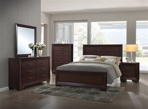 Fenbrook Transitional Dark Cocoa Hardwood Master Bedroom