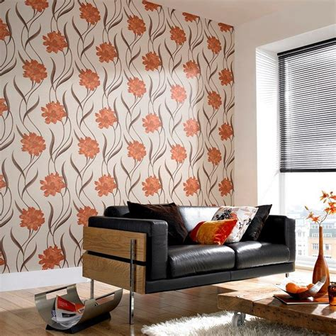 poppy burnt orange cream wallpaper  graham  brown