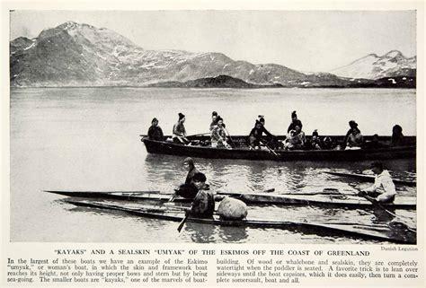 Umiak Boat by 1938 Print Kayak Sealskin Umiak Boat Eskimo Inuit