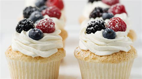 angel food cupcakes  whipped cream  berries recipe