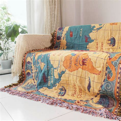 sashi fringed table throw bohemia blanket fringed world map tapestry throw sofa