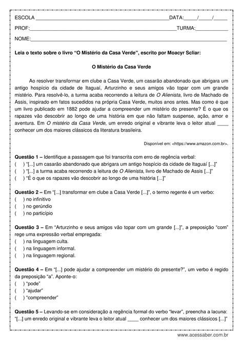 Atividade de português: Regência verbal - 9º ano