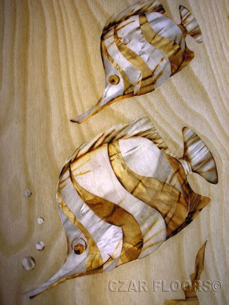 marquetry model butterflyfish custom wood stone