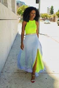 Neon Maxi Dress Yellow and Grey Summer Fashion Summer